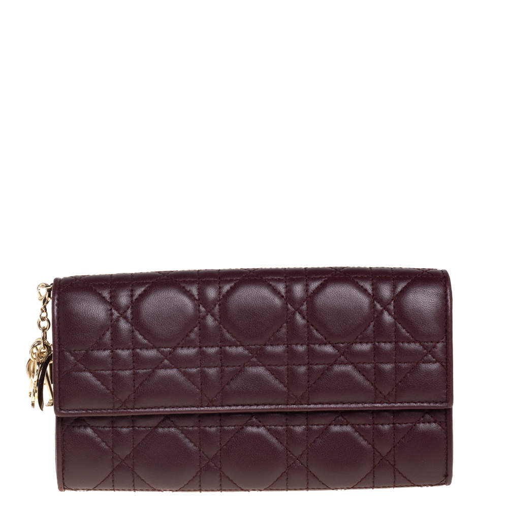 Dior Burgundy Cannage Leather Lady Dior Continental Wallet