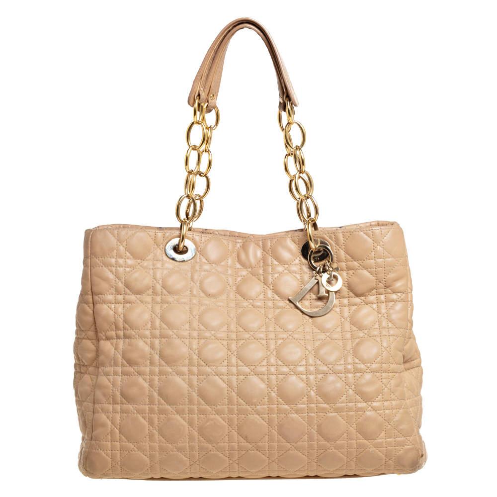 Dior Beige Cannage Leather Soft Lady Dior Shopper Tote