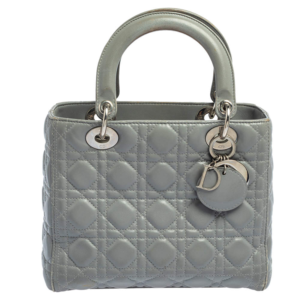 Dior Grey Quilted Leather Medium Lady Dior Tote