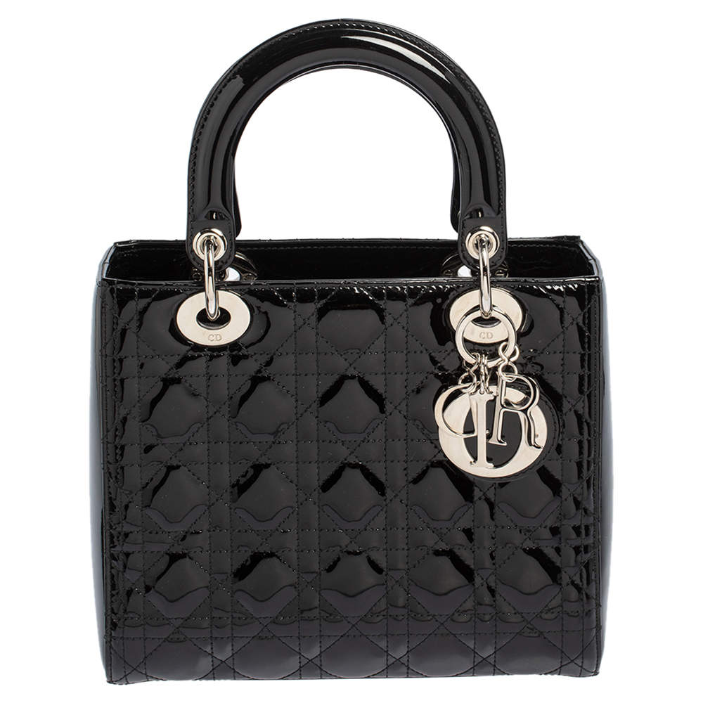 Dior Black Cannage Patent Leather Medium Lady Dior Tote
