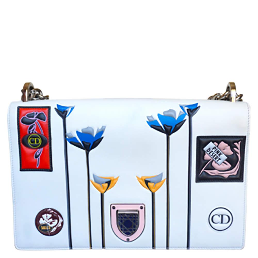 Dior White Leather Medium Paradise Diorama Shoulder Bag