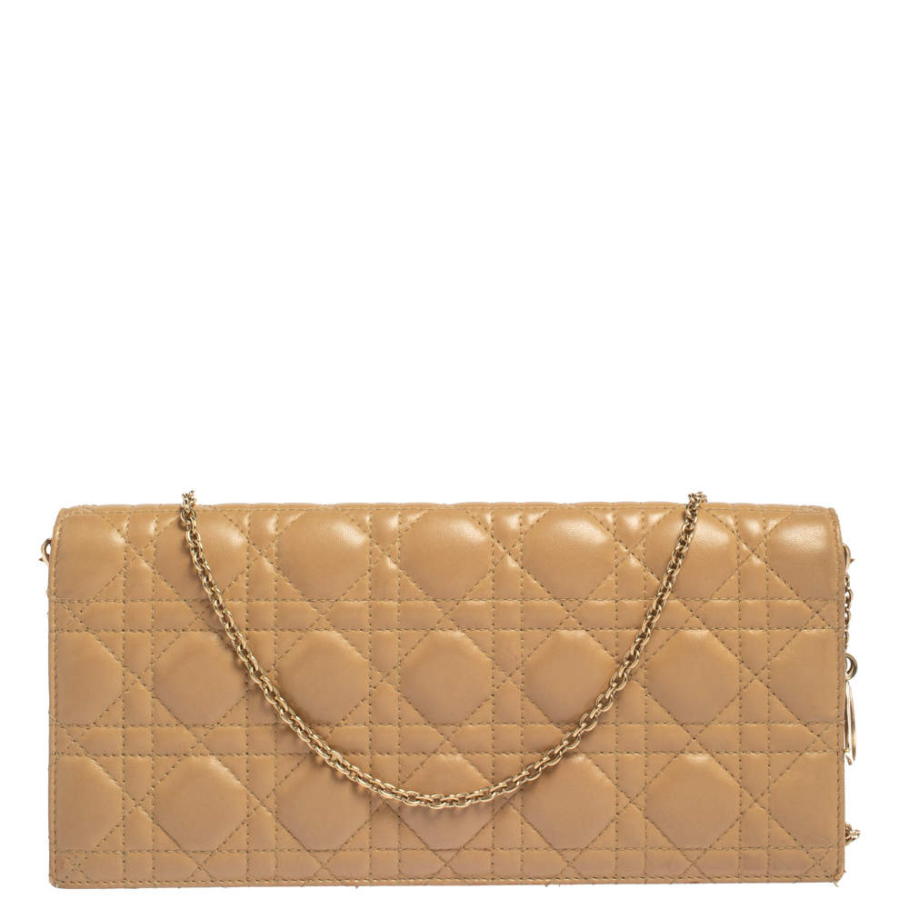 Dior Beige Cannage Leather Lady Dior Chain Clutch