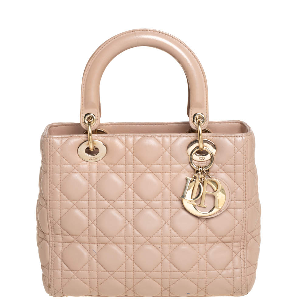 Dior Pink Cannage Leather Medium Lady Dior Tote