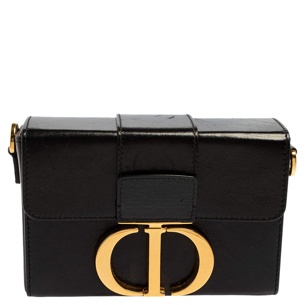 Dior Black Leather 30 Montaigne Box Bag