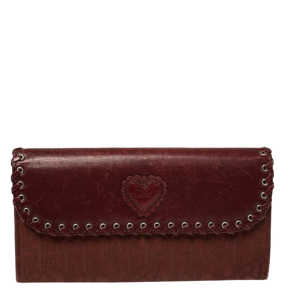 Dior Burgundy Woven Leather Trim and Canvas Continental Wallet