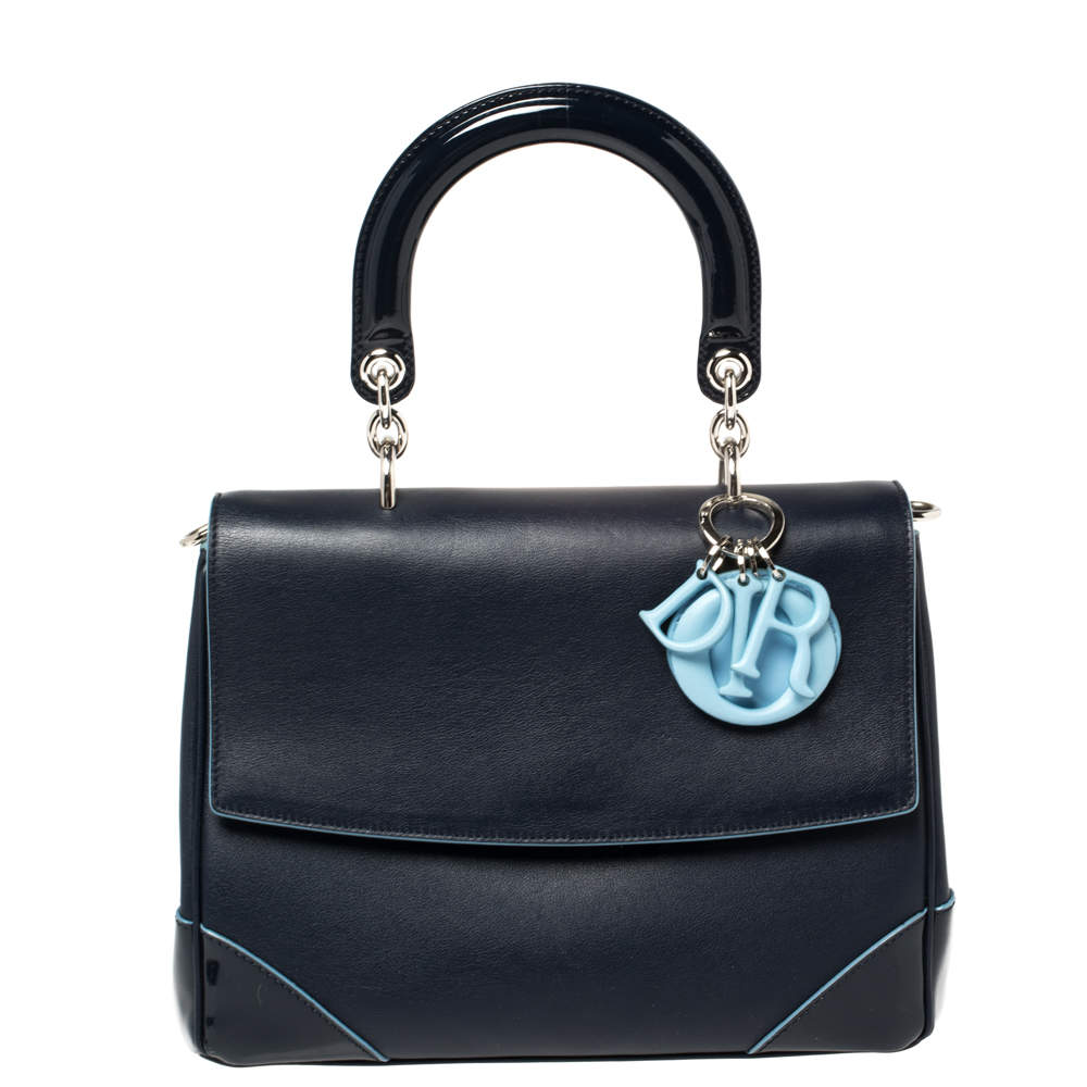 Dior Navy Blue Leather Small Be Dior Flap Top Handle Bag