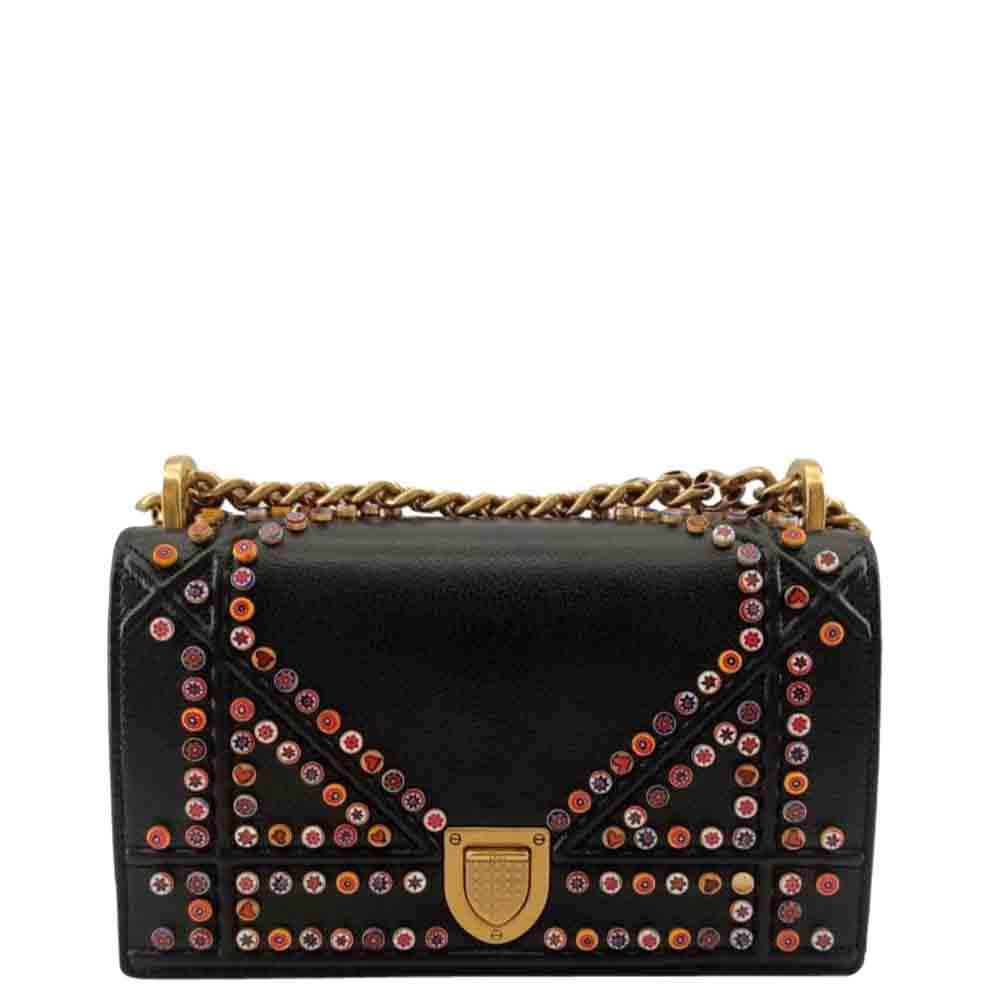 Dior Black Studded Leather Diorama Shoulder Bag