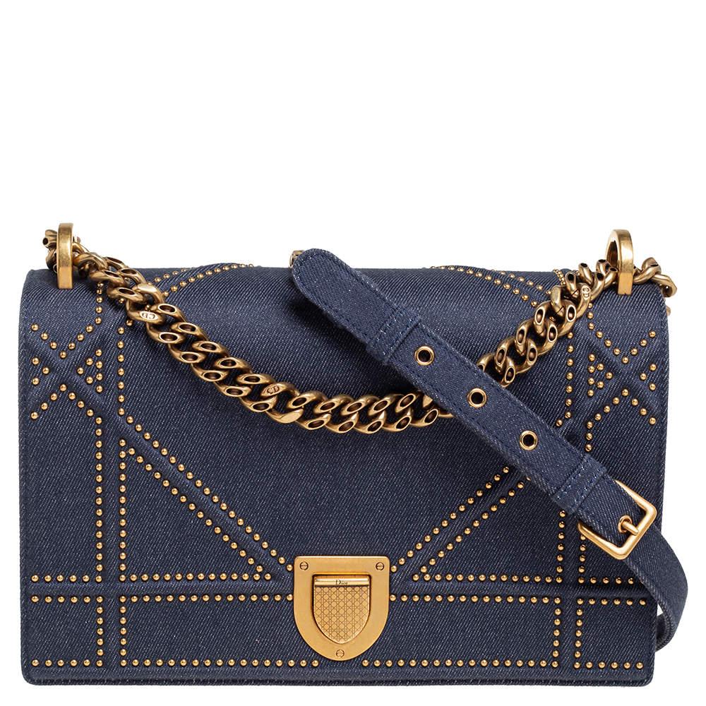 Dior Blue Denim Studded Medium Diorama Flap Shoulder Bag