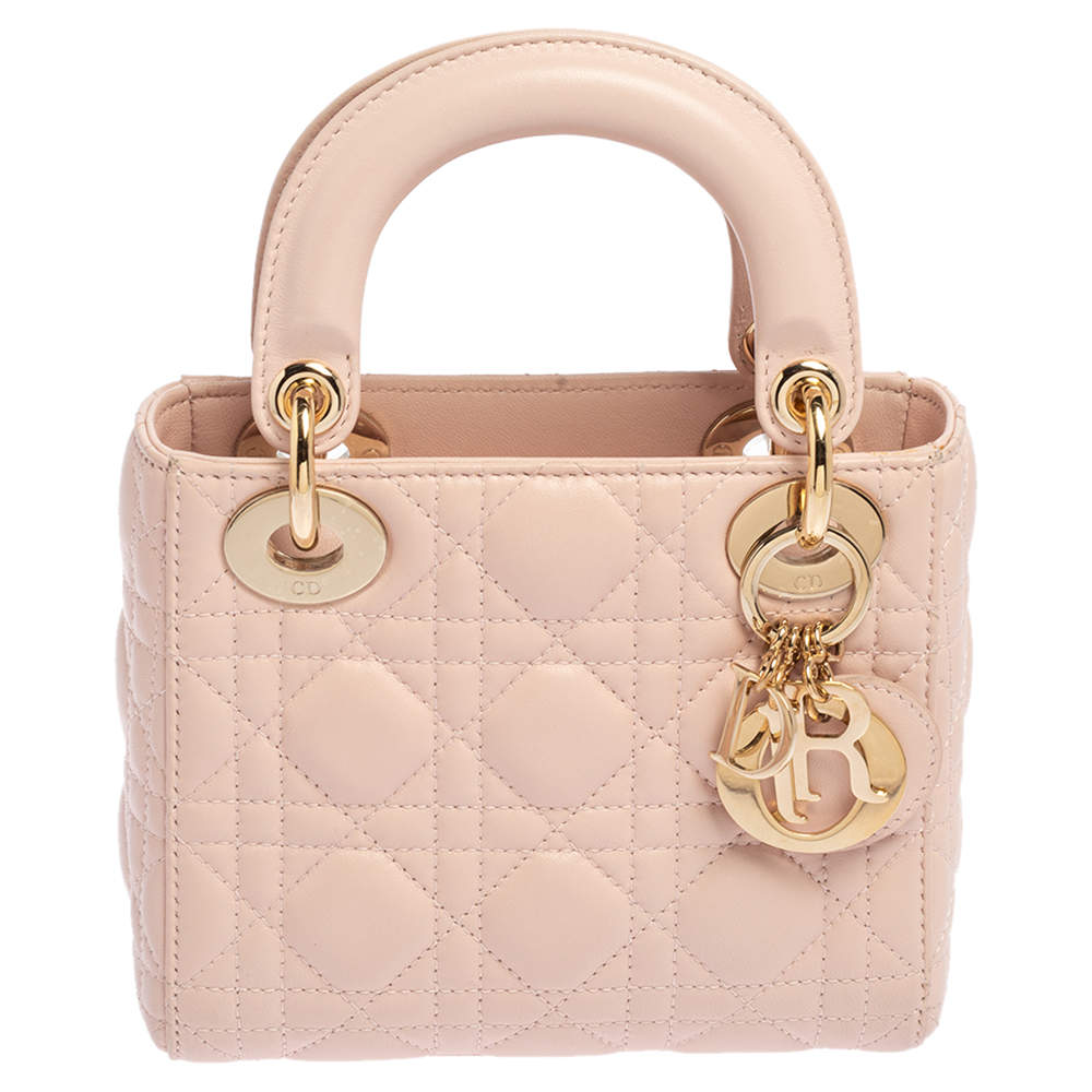 Dior Baby Pink Leather Mini Lady Dior Tote
