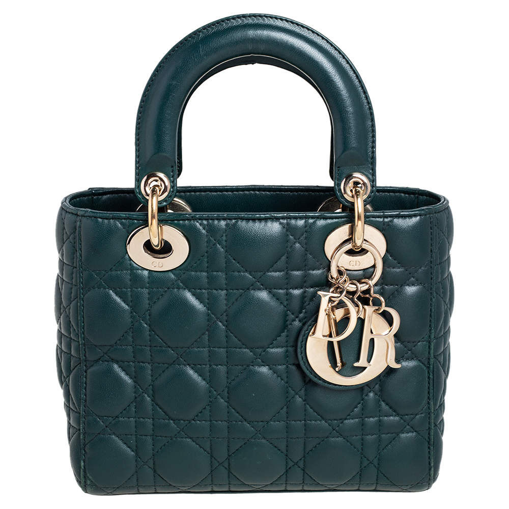 Dior Green Cannage Leather Small My Lady Dior Tote