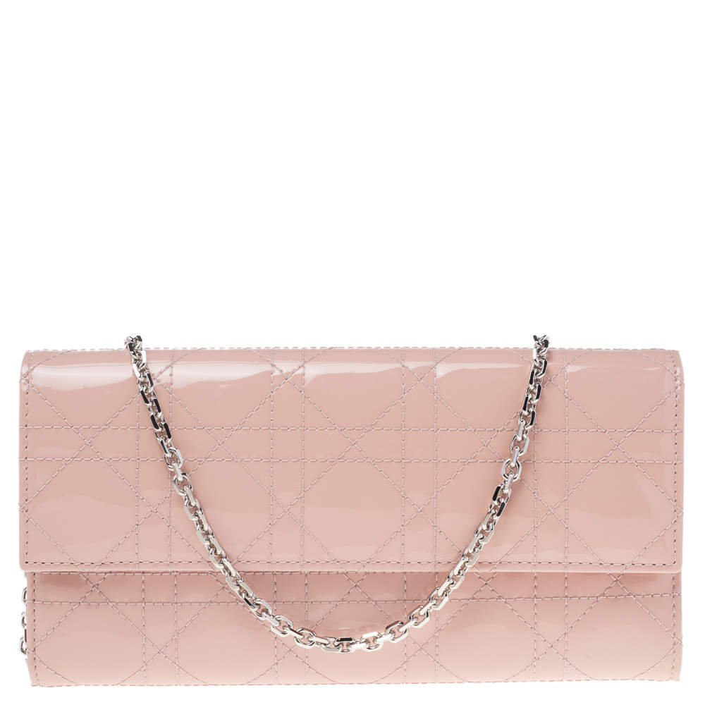 Dior Blush Pink Cannage Patent Leather Lady Dior Wallet On Chain