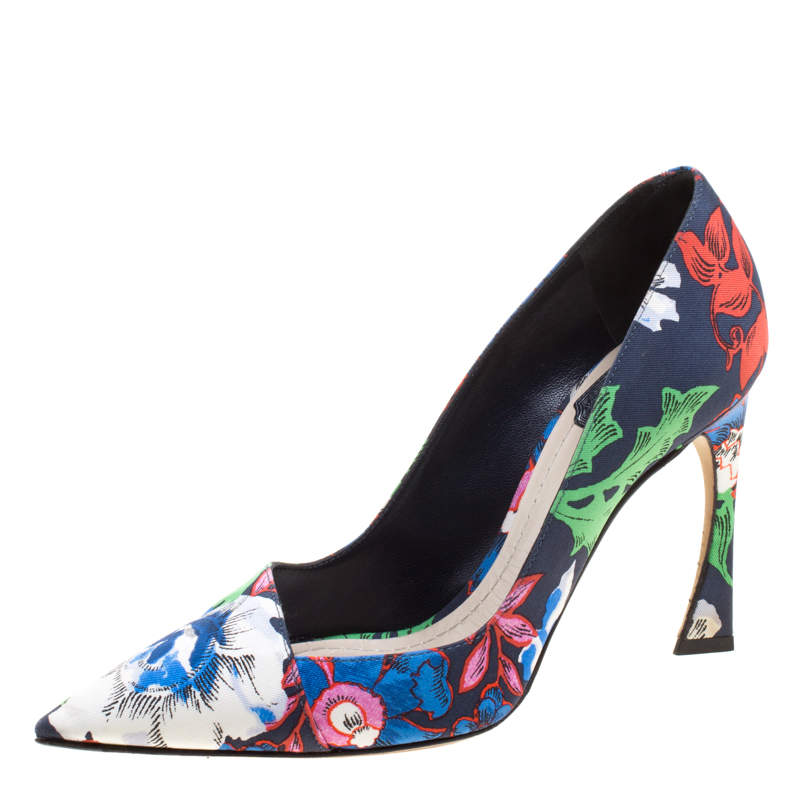Dior Floral Printed Canvas Pointed Toe Pumps Size 37