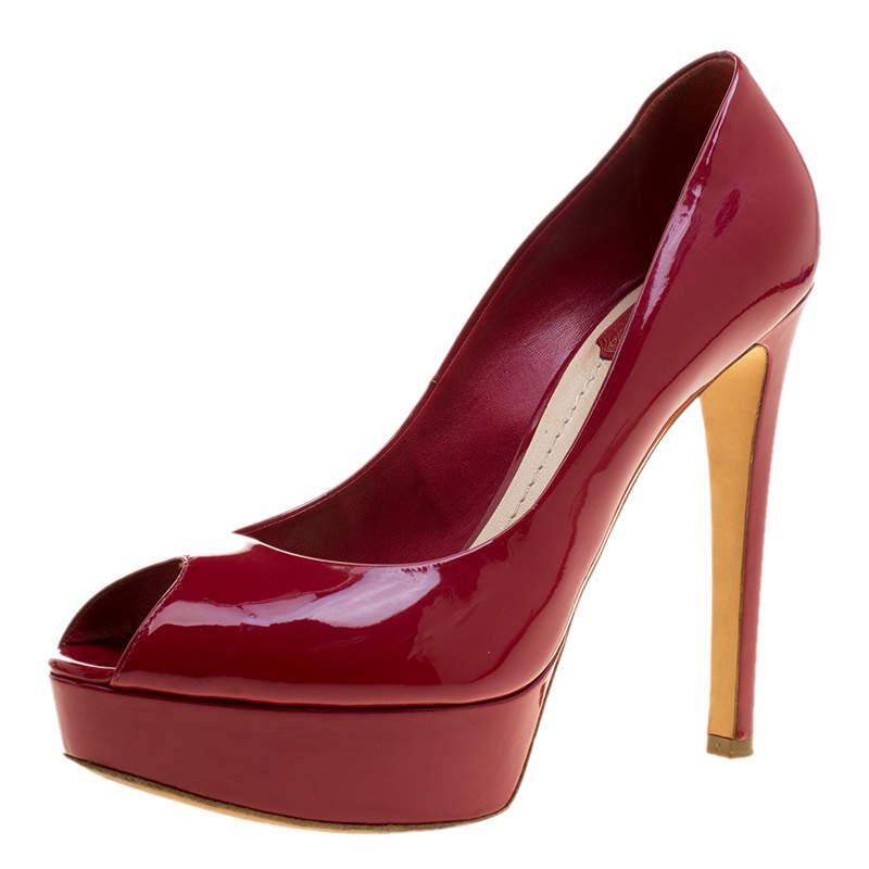 Dior Burgundy Patent Leather Miss Dior Peep Toe Platform Pumps Size 39