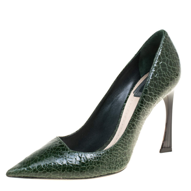 Dior Green Crackled Leather Pointed Toe Pumps Size 38