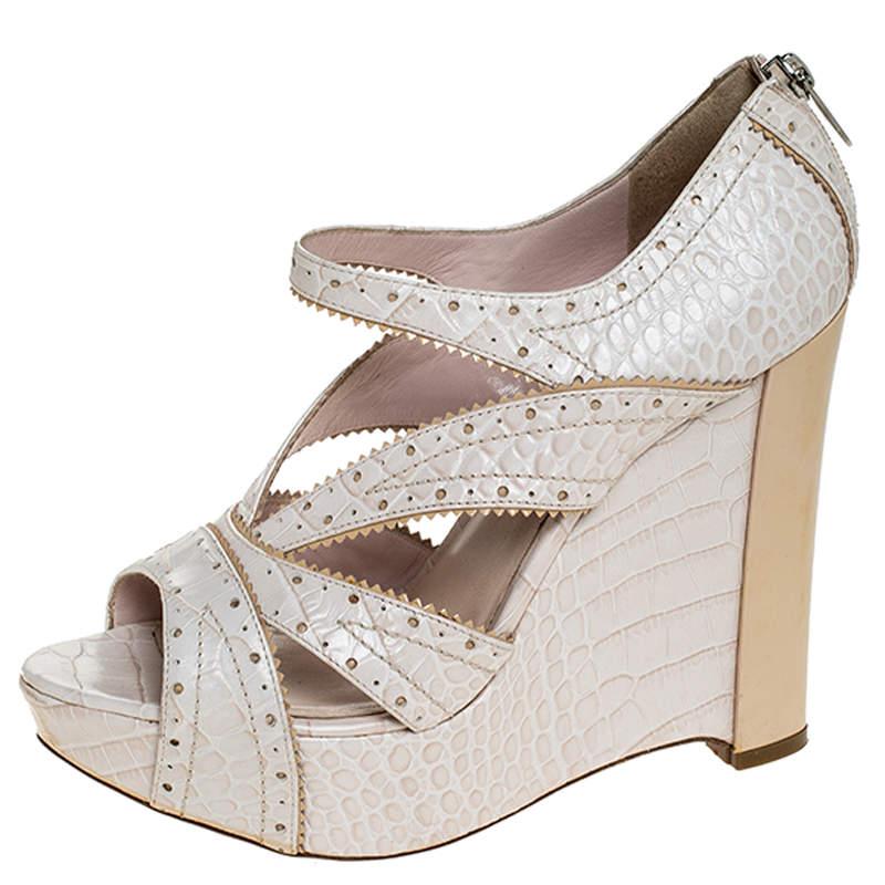Dior Beige Crocodile Brogue Detail Wedge Platform Strappy Sandals Size 38