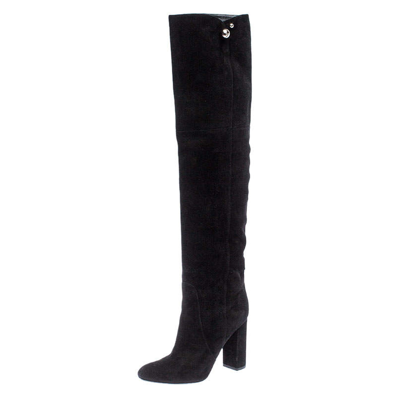 Dior Black Suede Silver-Tone Spherical Logo Detail Over The Knee Block Heel Boots Size 37.5