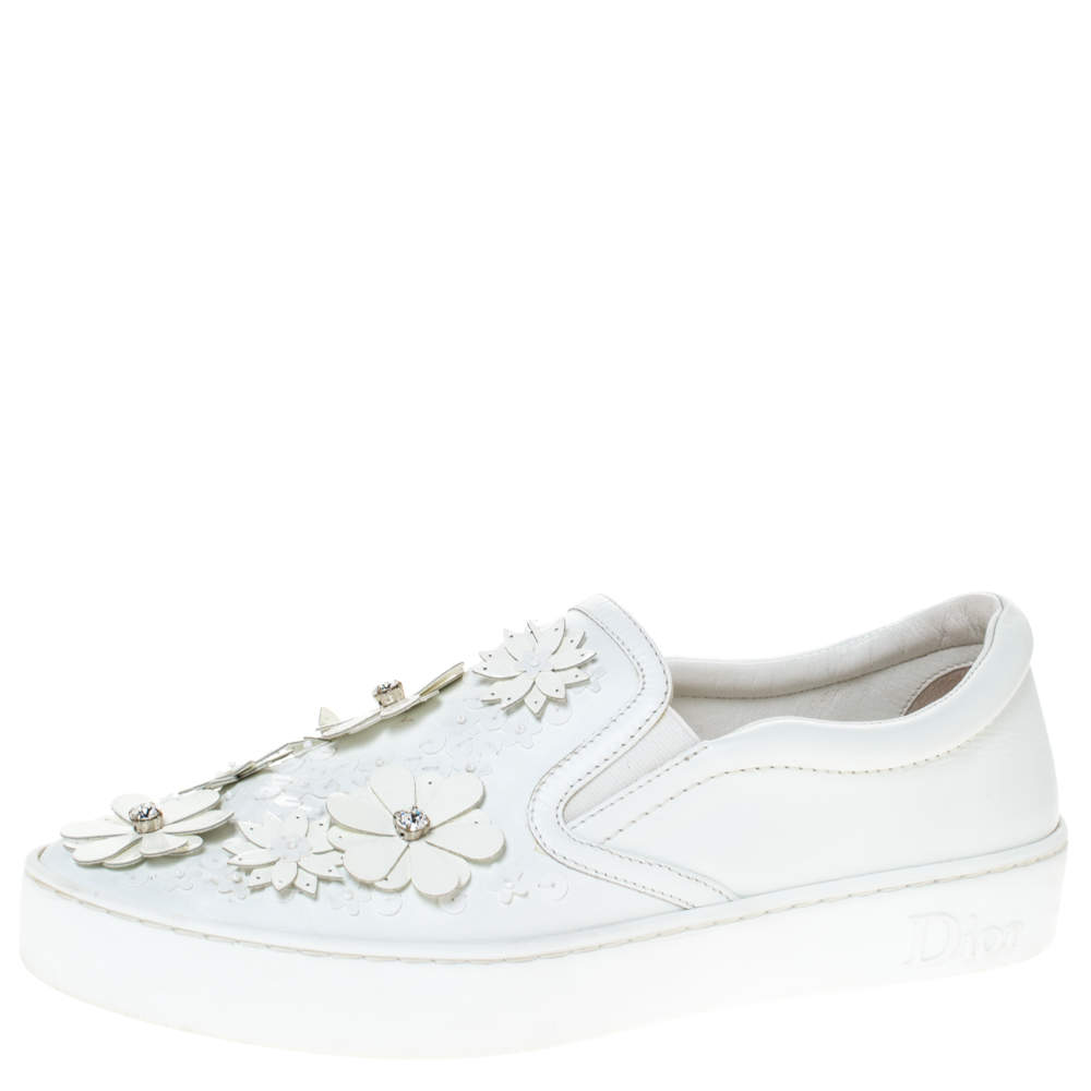 Dior White Leather Daisy Flower Embellished Slip On Sneakers Size 38