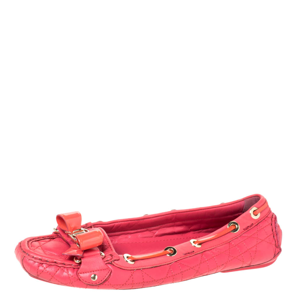 Dior Cerise Pink Cannage Leather Bow Ballet Flats Size 38.5