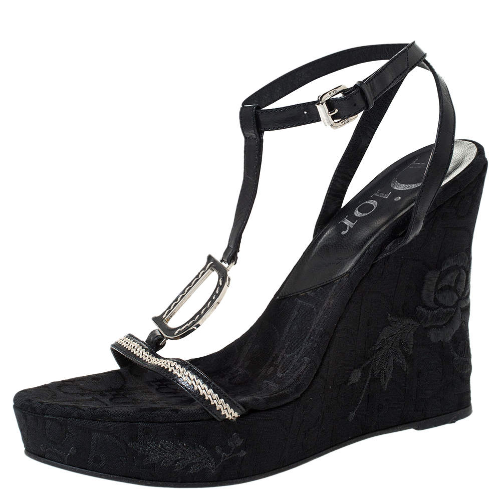 Dior Black Leather And Flower Embroidered Diorissima Canvas Wedge Strappy Sandals Size 38