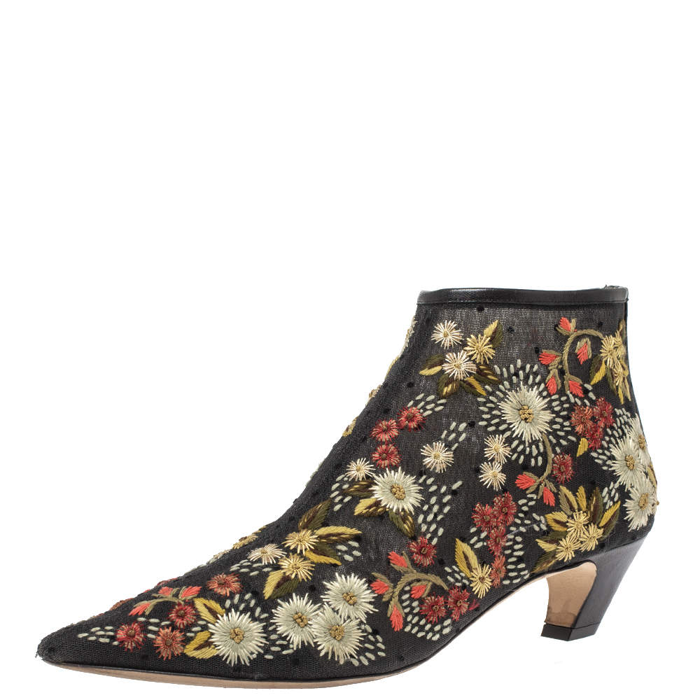 Christian Dior Black Mesh Floral Embroidered Ankle Boots Size 39.5