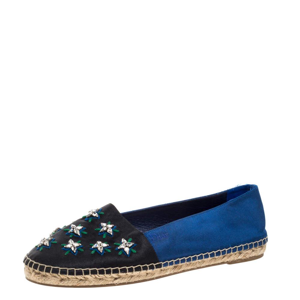 Dior Blue/Black Canvas Crystal Embellished Riviera Espadrille Flat Size 39