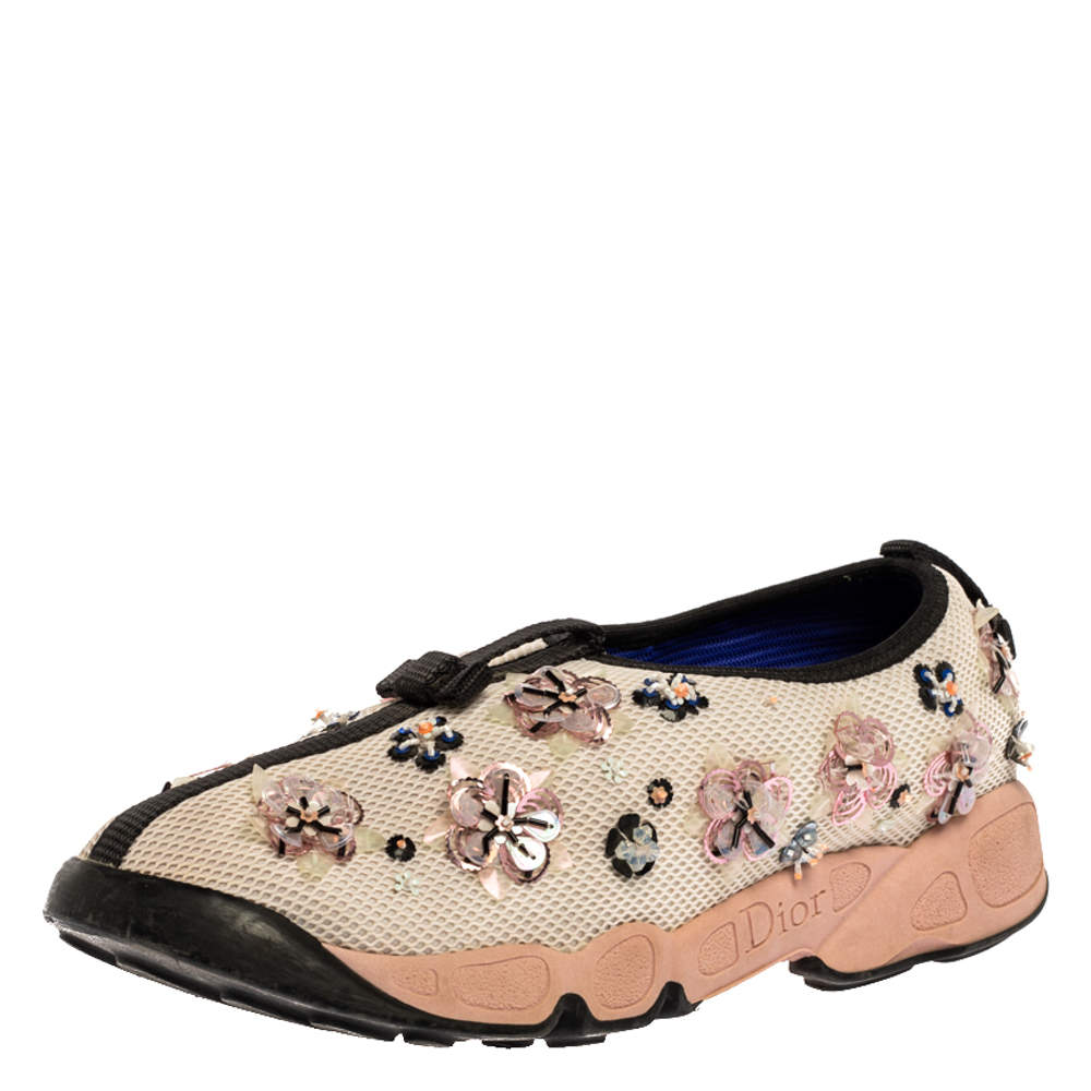 Dior Cream Mesh Fusion Floral Embellished Slip On Sneakers Size 37