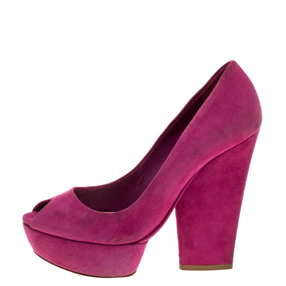 Dior Fuchsia Suede Peep Toe Platform Pumps Size 37