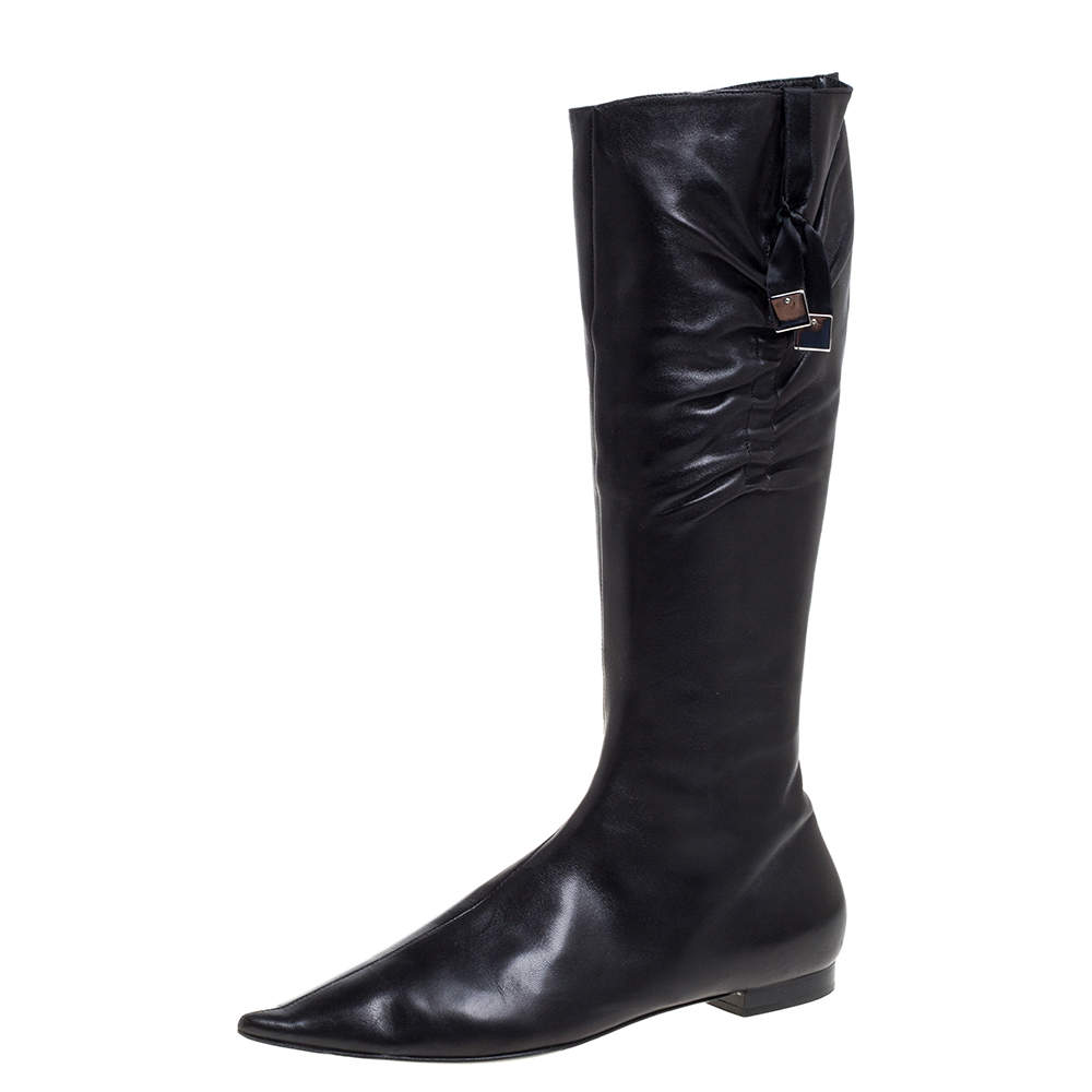 Dior Black Leather Pleated Bow Detail Knee Length Boots Size 39
