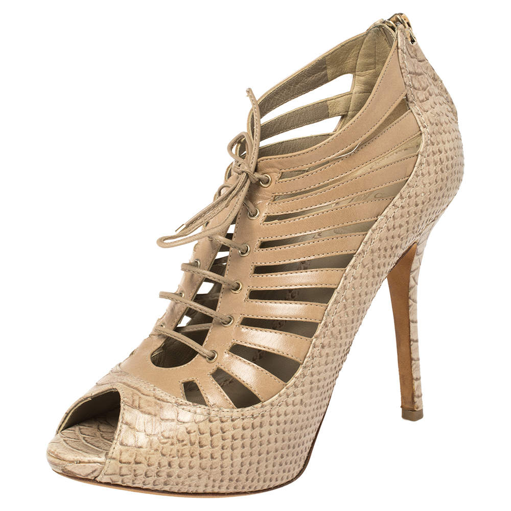 Dior Beige Snake Embossed Leather Cage Lace Up Peep Toe Pumps Size 38.5