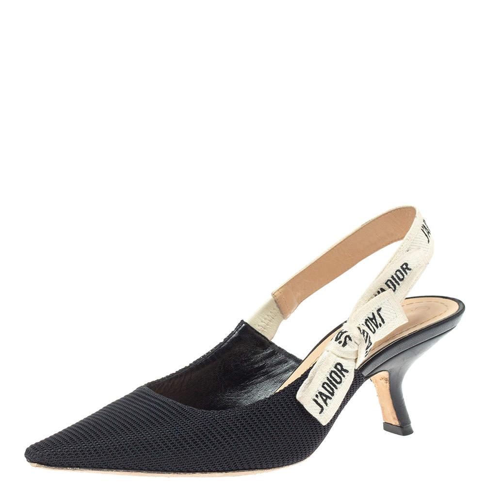 Christian  Dior Black Fabric J'Adior Slingback Pumps Size 36.5