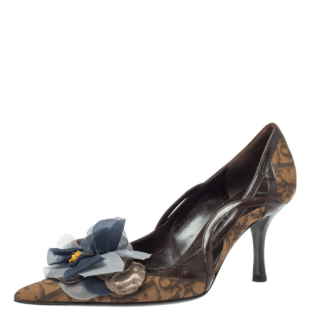 Dior Brown Oblique Canvas And Leather Floral Applique Pointed Toe Pumps Size 37