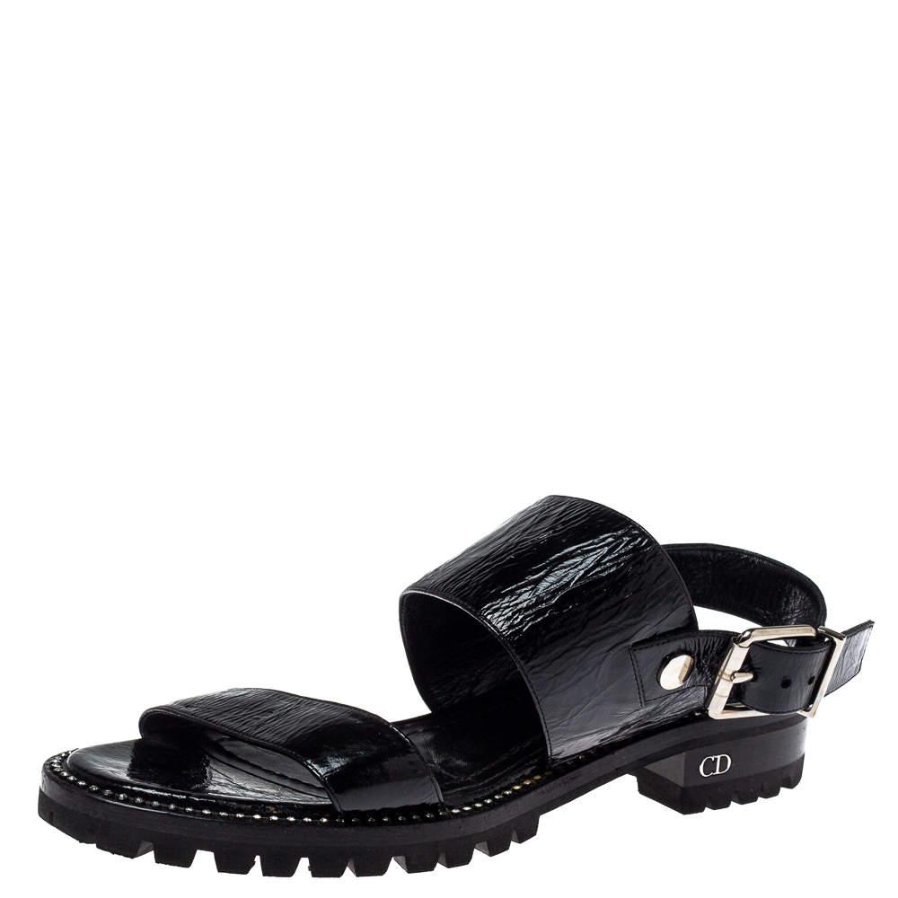 Dior Black Leather Crystal Embellished Buckle Strap Sandals Size 37.5