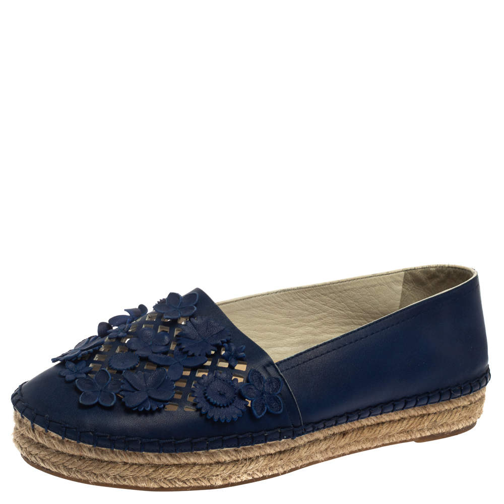 Dior Navy Blue Laser Cut Leather Flower Applique Espadrille Flats Size 36