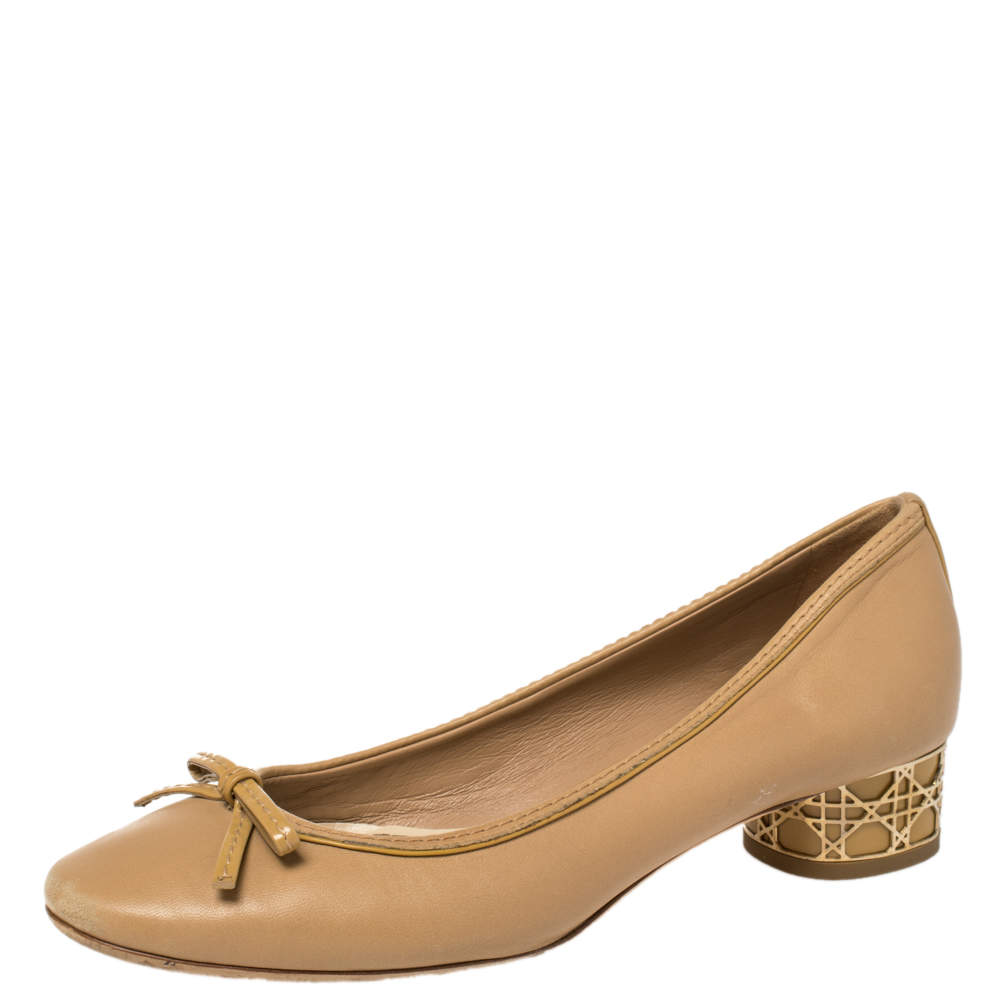 Dior Beige Leather Bow Detail Cannage Heel Pumps Size 37.5