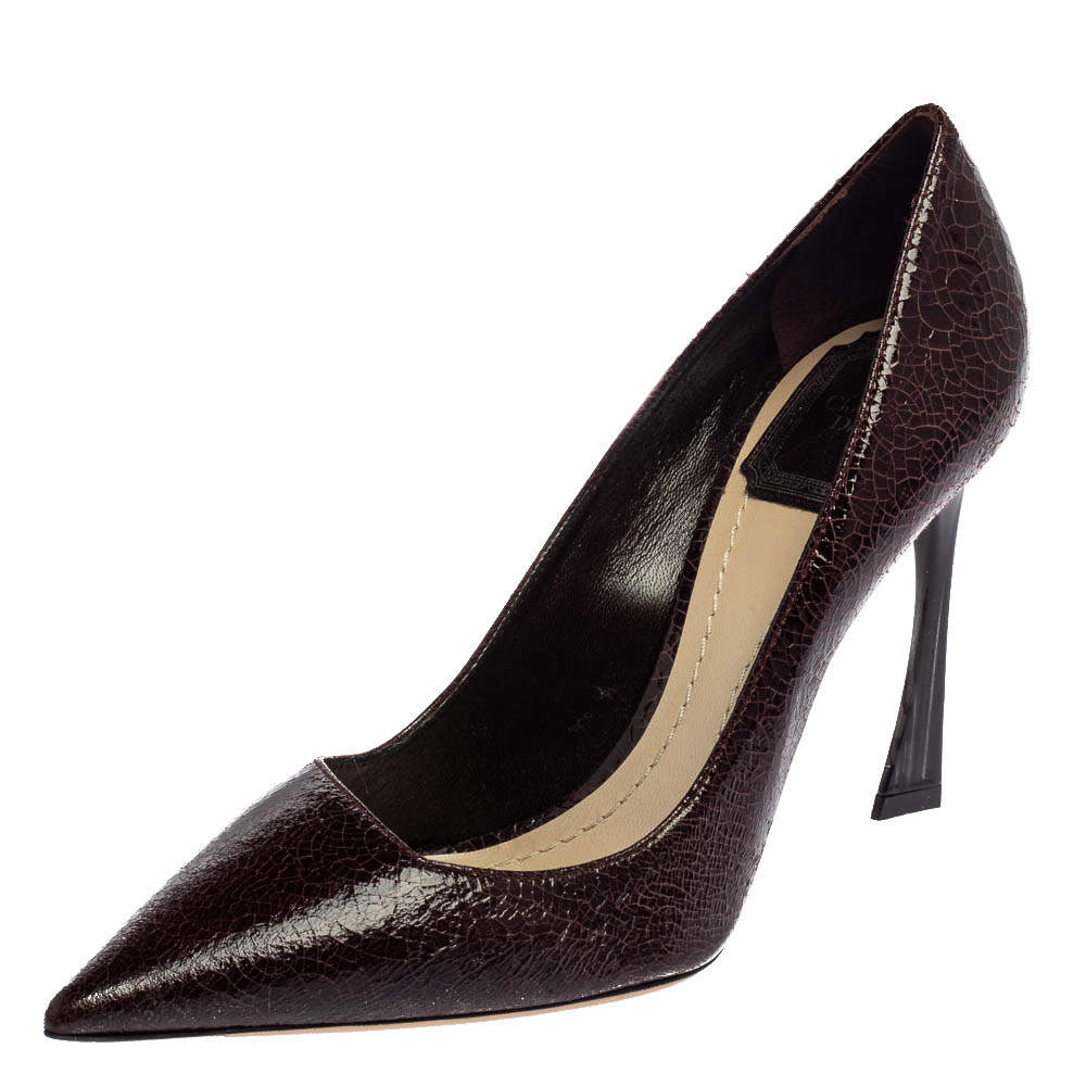 Dior Burgundy Crackled Leather Pointed Toe Pumps Size 37