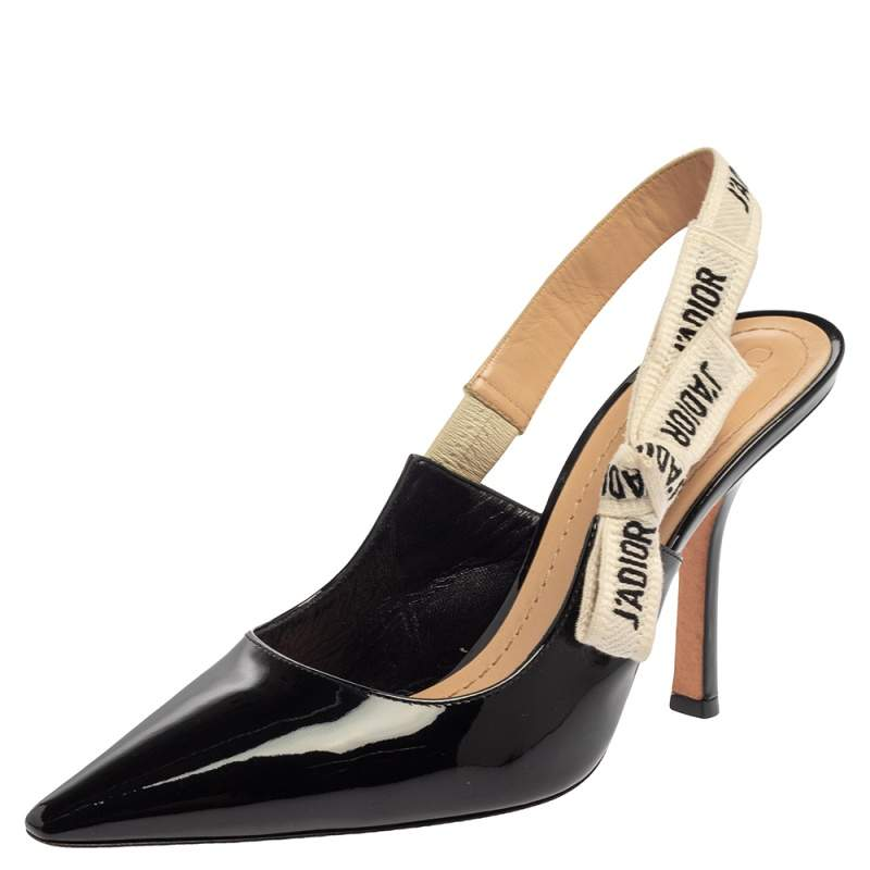 Dior Black Patent Leather J'Adior Slingback Sandals Size 38.5