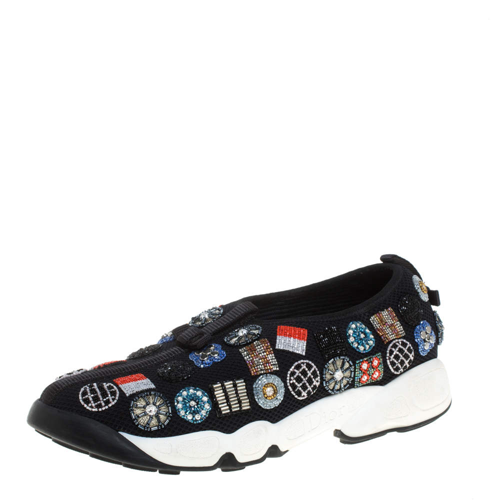 Dior Black Embellished Fabric Fusion Sneakers Size 38.5
