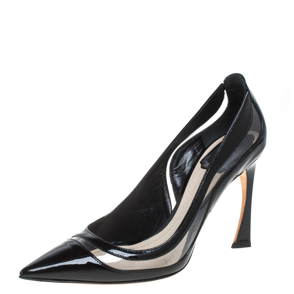 Dior Black Patent Leather And PVC Pointed Toe Pumps Size 38