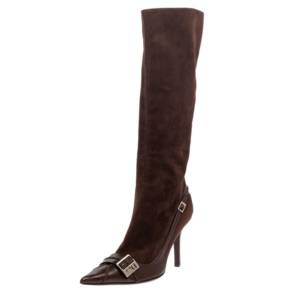 Dior Brown Suede And Leather Knee Length Pointed Toe Buckle Boots Size 38