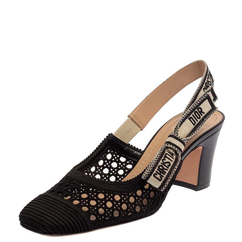 Dior Black Fabric Moi Slingback Sandals Size 37