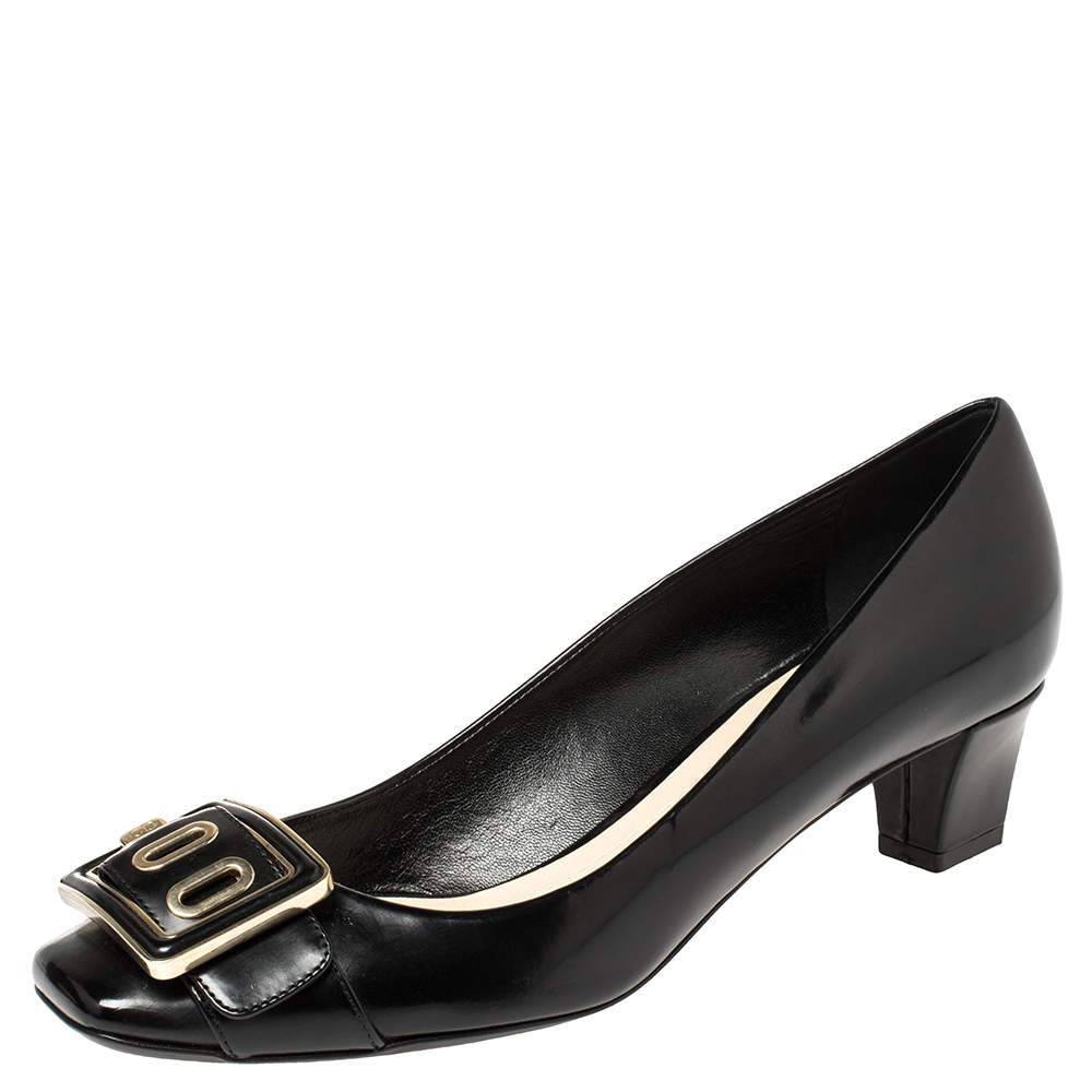 Dior Black Leather Buckle Embellished Square Toe Pumps Size 38