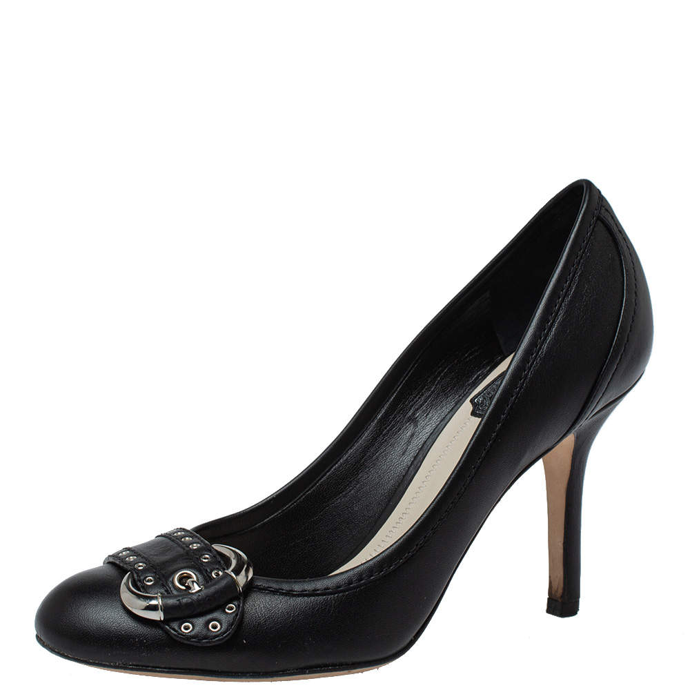 Dior Black Leather Studded Buckle Detail Round Toe Pumps Size 36.5