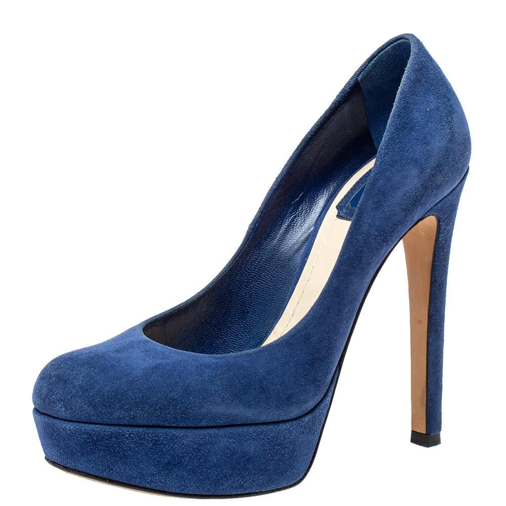 Dior Blue Suede Platform Pumps Size 35