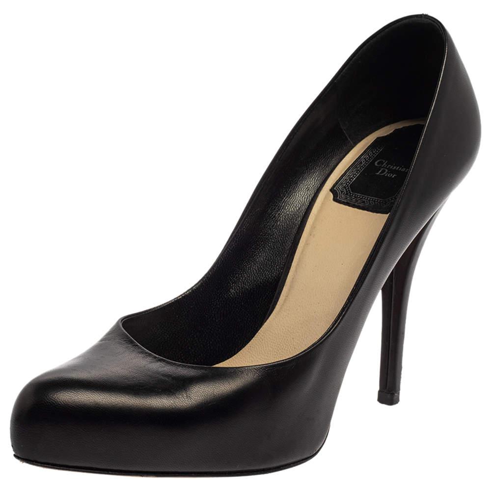 Dior Black Leather Logo Embellished Pumps Size 37.5