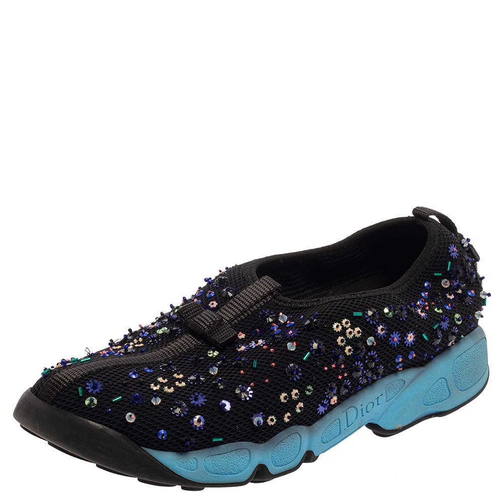 Dior Black Mesh Fusion Embellished Sneakers Size 37