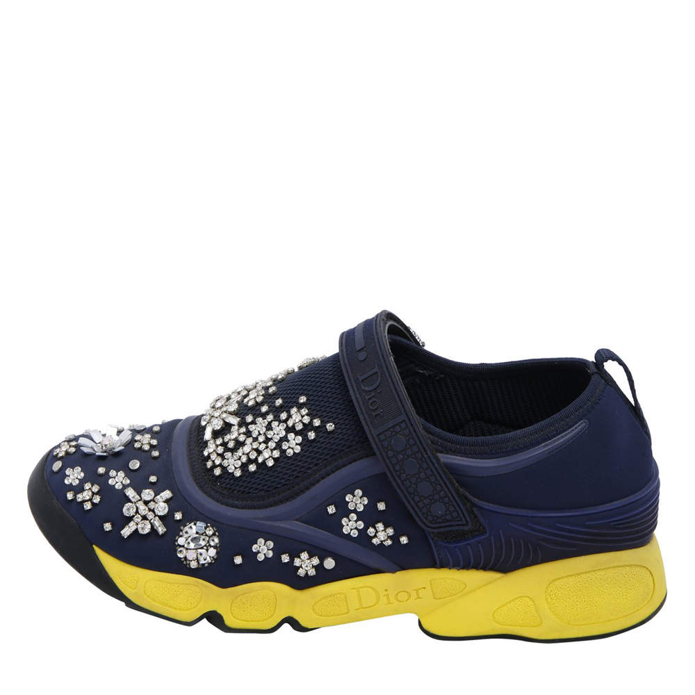 Dior Blue Fabric And Mesh Neoprene Fusion Embellished Low-Top Sneakers Size EU 39