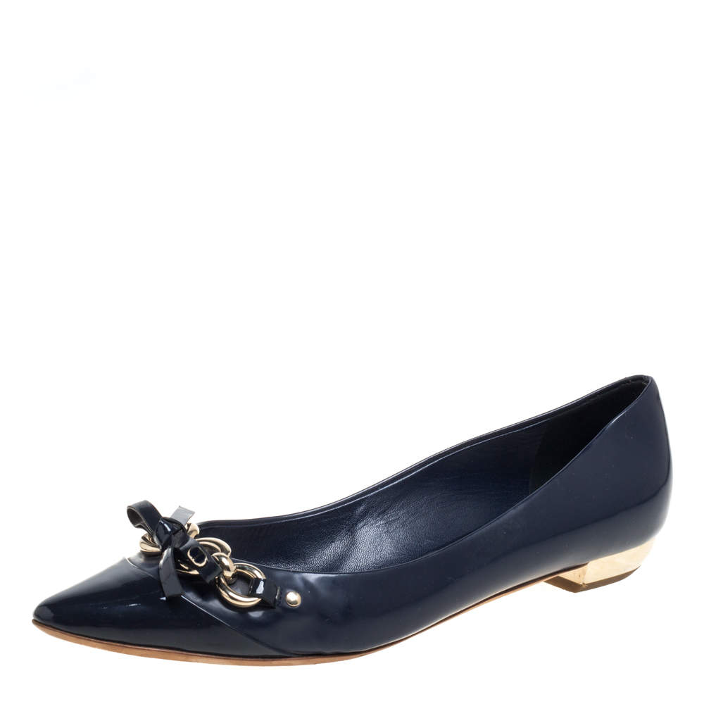 Dior Navy Blue Patent Leather And Leather Bow Chain Ballet Flats Size 40