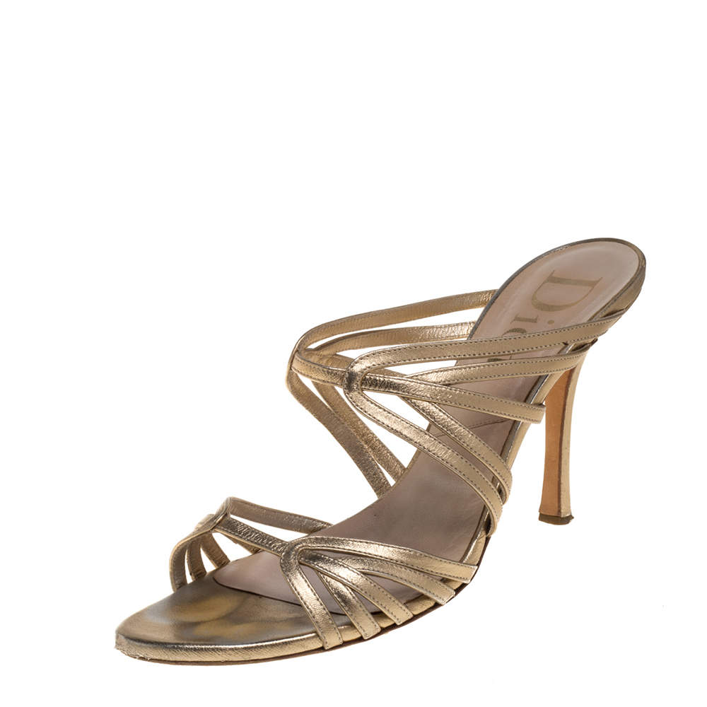 Dior Gold Leather Strappy Sandals Size 40.5