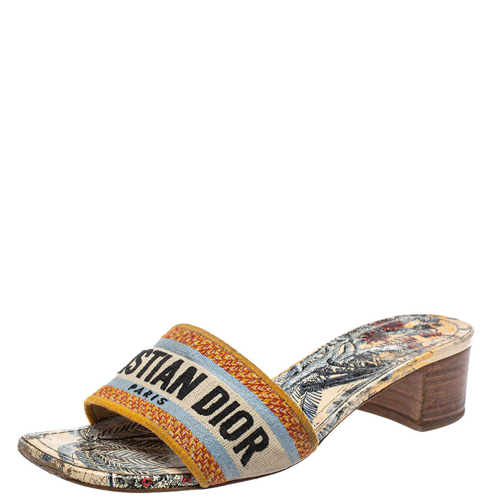 Dior Multicolour Canvas D-way Slide Sandals Size 38