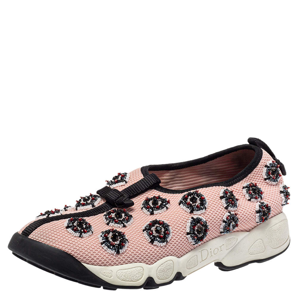 Dior Pink/Black Embellished Fabric Fusion Sneakers Size 37.5